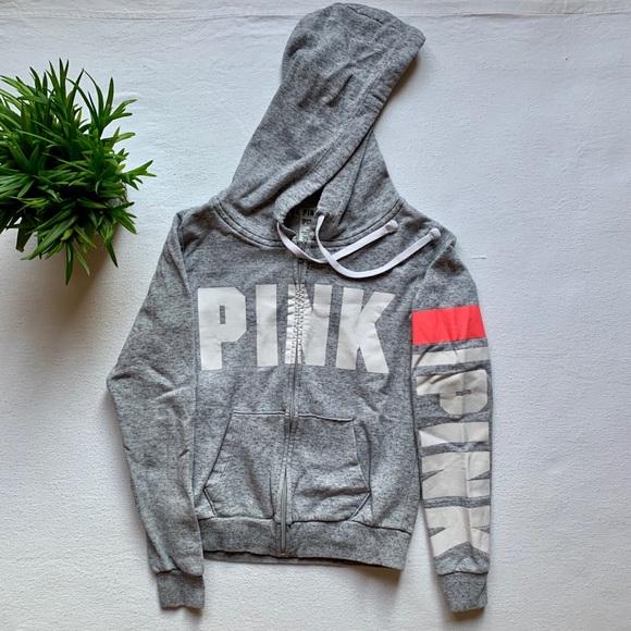 PINK Zip-Up Grey Sweater